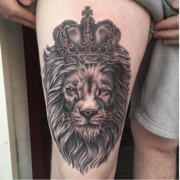 77c7b62ee Lion is the king of the jungle so it would only be justified to have king  crown tattoo design along with a lion tattoo like this.