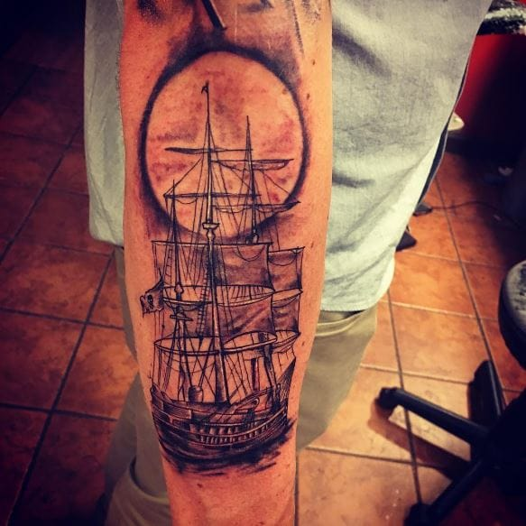 6e56d9bce A pirate ship tattoo design will look even better with a full moon in the  background. Do not opt for a sun tattoo in background.