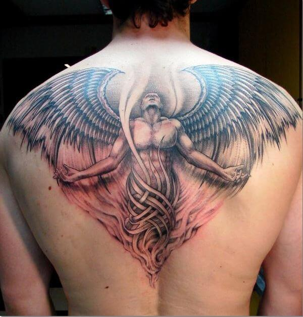 f440b0cb2 50+ Beautiful Angel Tattoos For Men (2019) Devil, Demon & Archangel ...