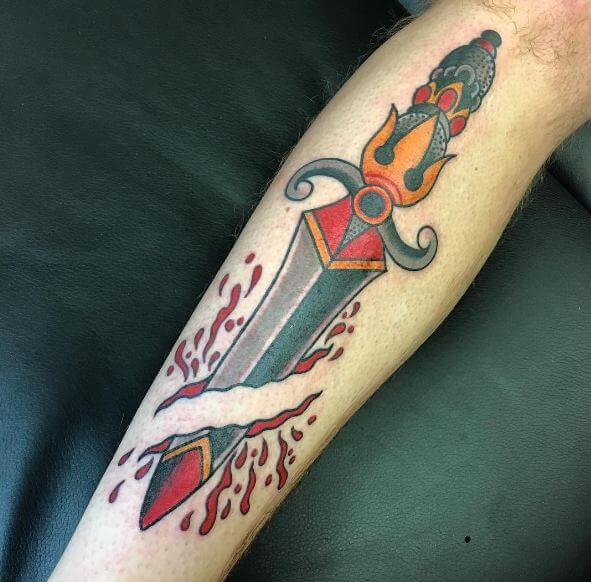 4d99989f0 50+ Traditional Dagger Tattoos Ideas For Men (2019) | Tattoo Ideas