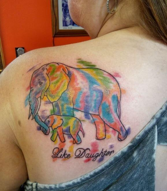 Colorful Mother Daughter Tattoos On Back