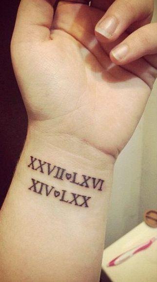 Date Of Birth In Roman Numerals Tattoo (80)