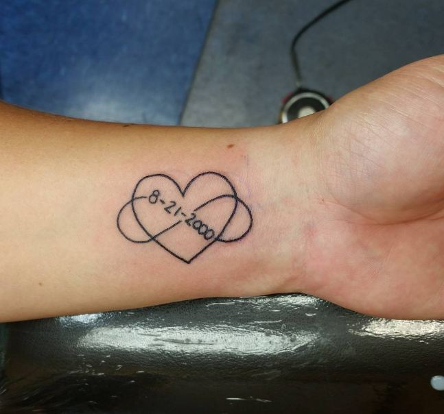 Infinity With Date Tattoos On Wrist