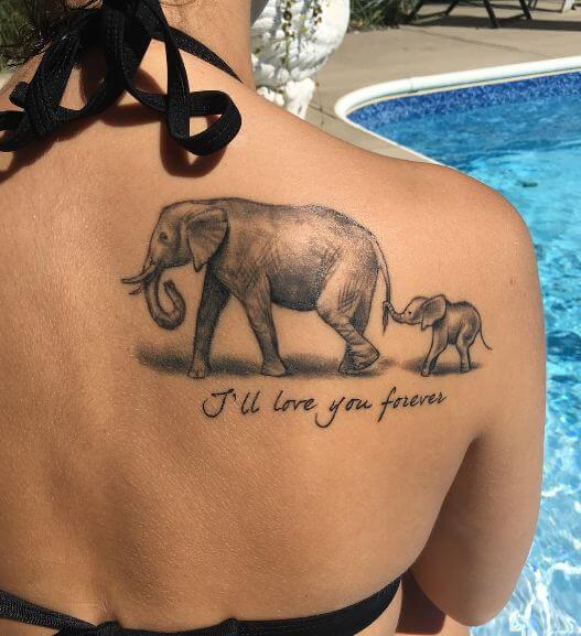 Mother Daughter Elephant Tattoos