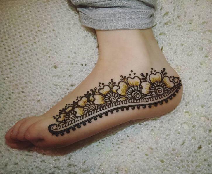 Side Foot Henna Tattoos