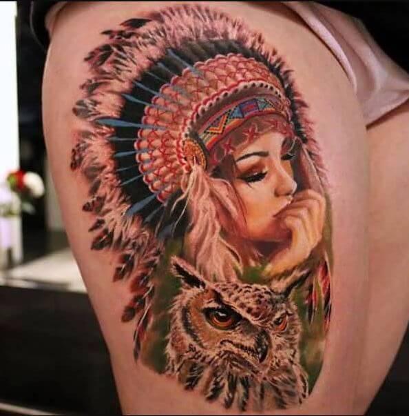Native American Owl Tattoo