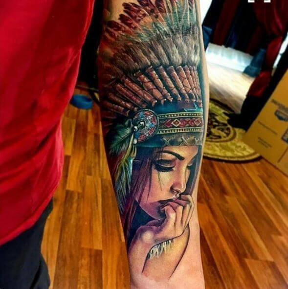 Native American Woman Tattoos