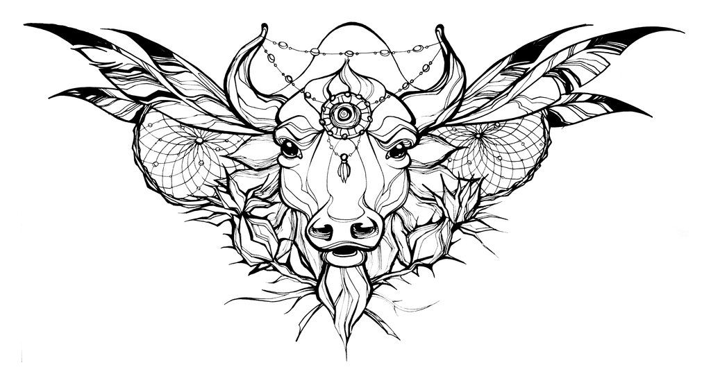 Small Simple Bull Tattoo Designs (110)