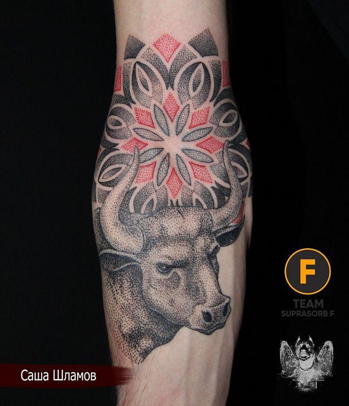 Small Simple Bull Tattoo Designs (162)