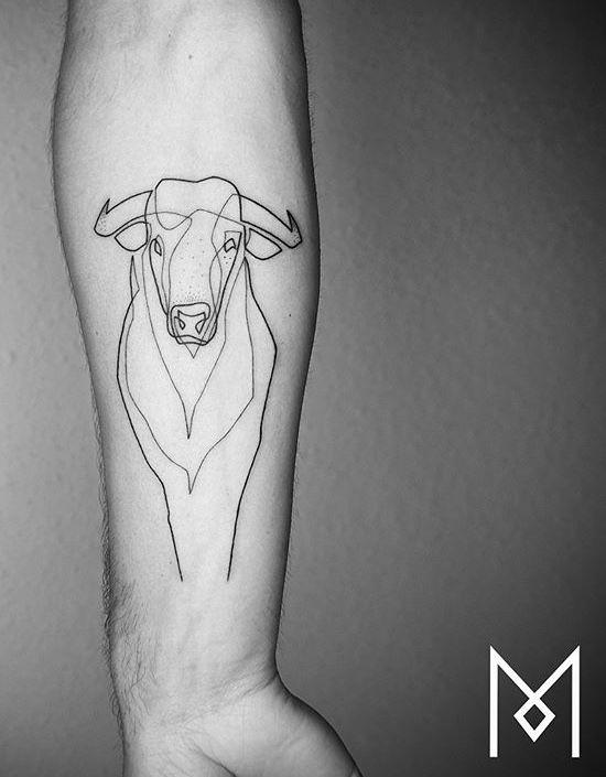 Small Simple Bull Tattoo Designs (187)