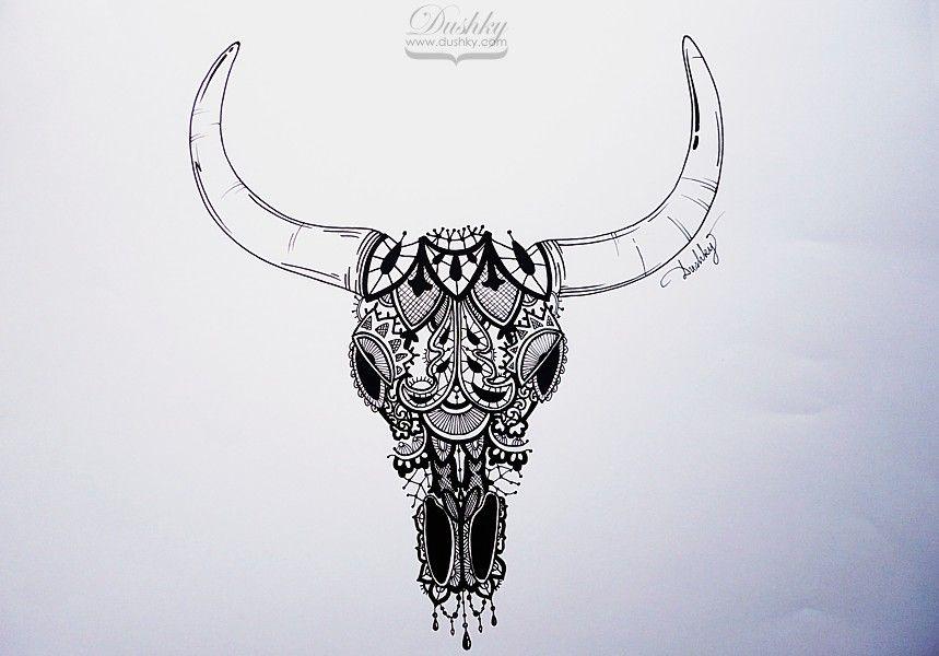 Small Simple Bull Tattoo Designs (36)