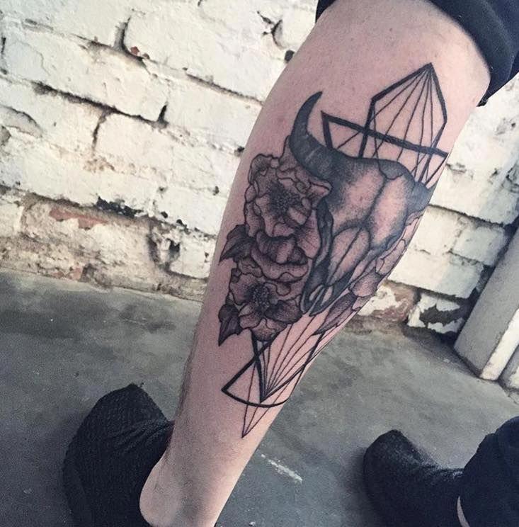 Small Simple Bull Tattoo Designs (77)