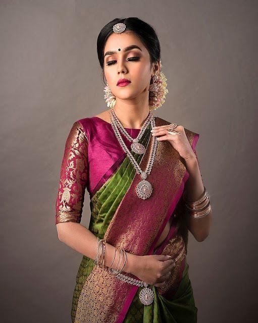 34 Sleeves Readymade Booti Art Silk Boat Neck Benarasi Designer Silk Saree Blouse Fabric Tunic Top sari Choli Women Red Pink Green Blue