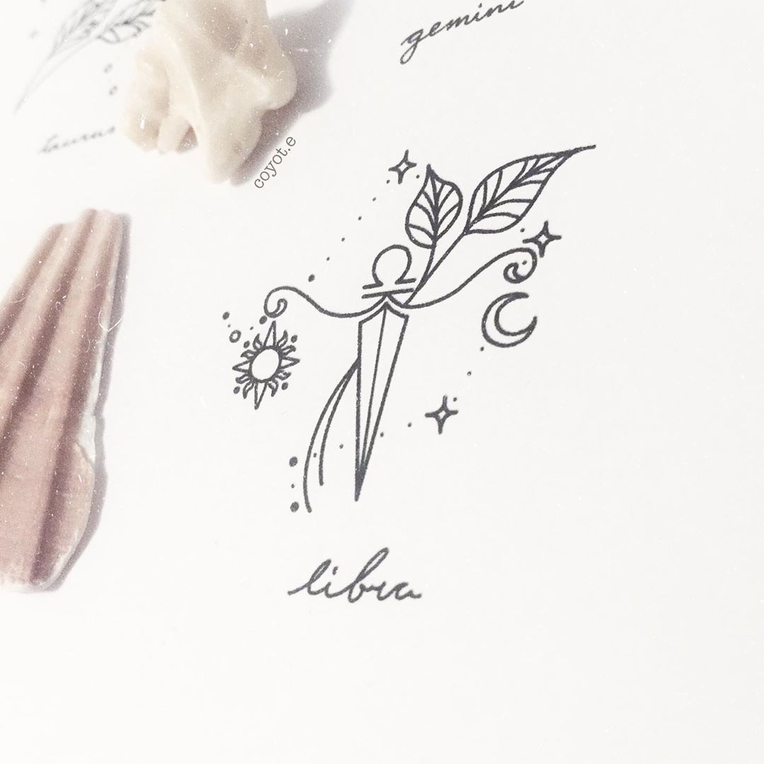 Libra Zodiac Horoscope Sign Symbol Tattoos (102)