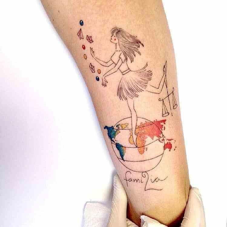 Libra Zodiac Horoscope Sign Symbol Tattoos (122)