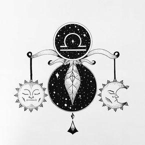 Libra Zodiac Horoscope Sign Symbol Tattoos (141)
