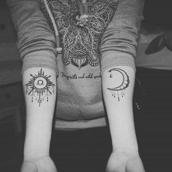 Libra Zodiac Horoscope Sign Symbol Tattoos (144)