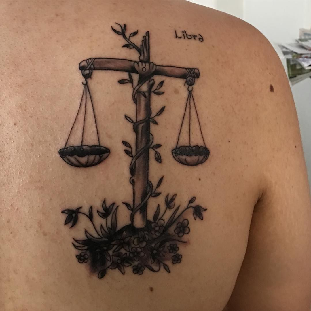Libra Zodiac Horoscope Sign Symbol Tattoos (173)