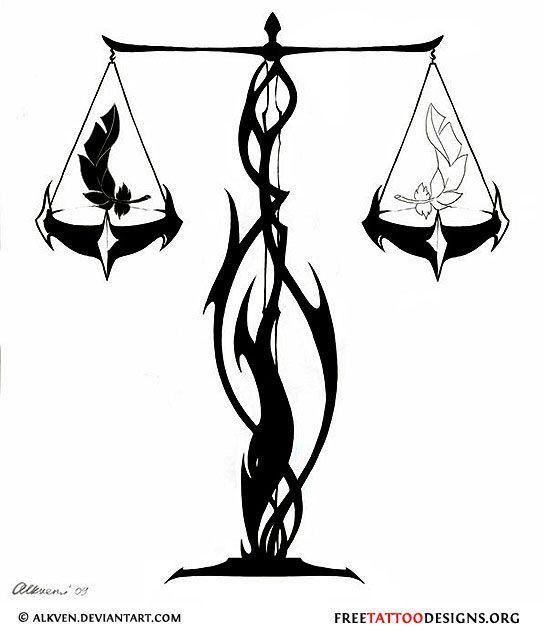 Libra Zodiac Horoscope Sign Symbol Tattoos (3)