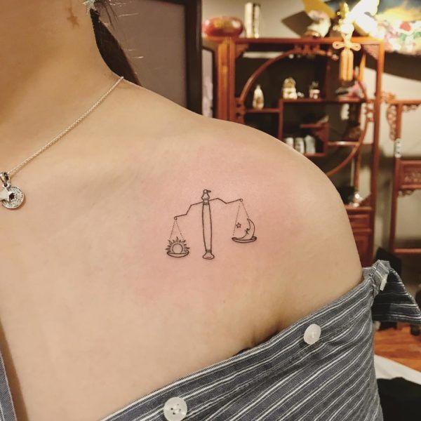 Libra Zodiac Horoscope Sign Symbol Tattoos (44)