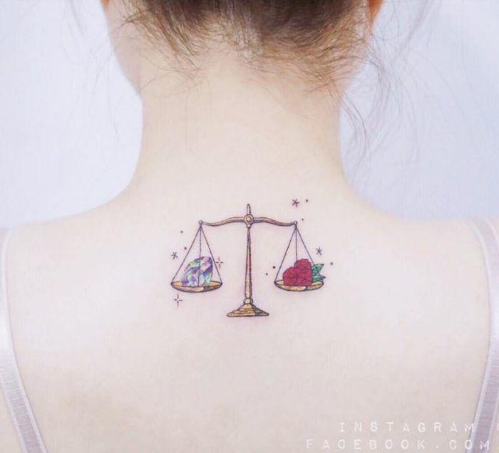 Libra Zodiac Horoscope Sign Symbol Tattoos (70)