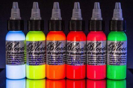 Bloodline 6 Color Tattoo Black Light UV Ink Highlight Set (