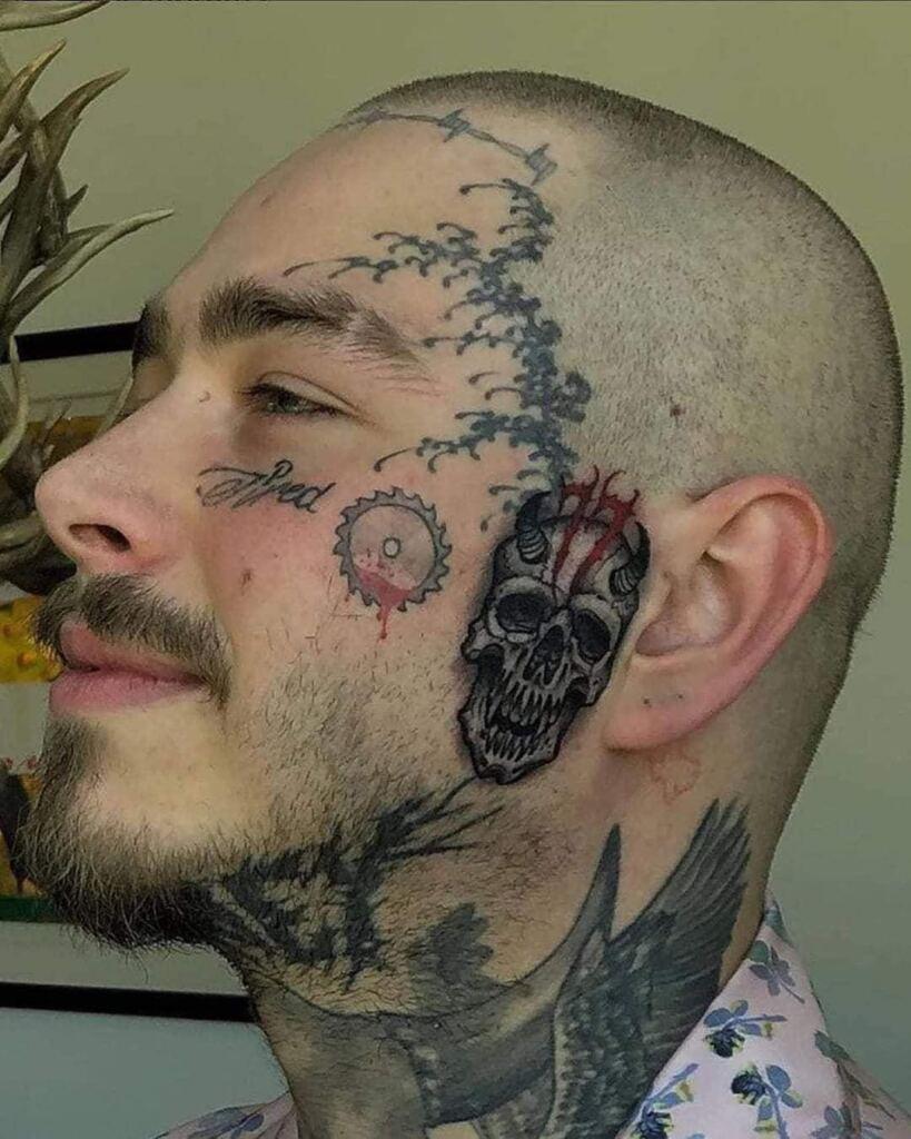 21 Evil Skull Tattoo On Face
