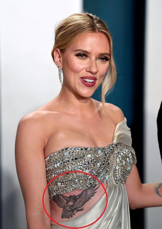 Scarlett Johansson Flying Owl Tattoos