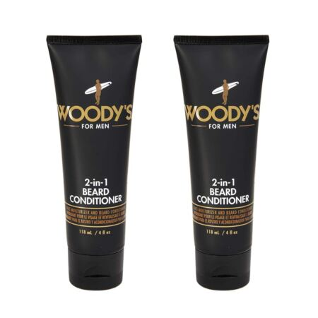 Woody's 2 In 1 Beard Conditioner For Men, Face Moisturizer & Beard Conditioner, 4 Oz, 2 Pack
